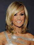Perruque synthétique lace front de style mi-longue carrie underwood